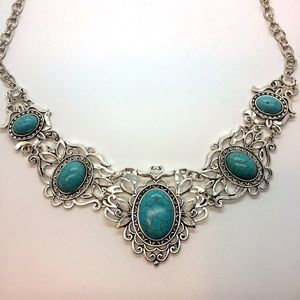 "Ornate BOHO Turquoise & Silver Tone 24"" Necklace"